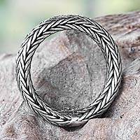 Sterling silver band ring, 'Dragon Lady' - Braided Silver Band Ring