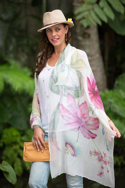Silk shawl, 'Passion' - Balinese Hand Painted Signed Silk Chiffon Shawl