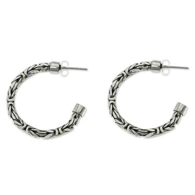 Sterling silver half hoop earrings, 'Borobudur Moon' - Braided Silver Half Hoop Earrings