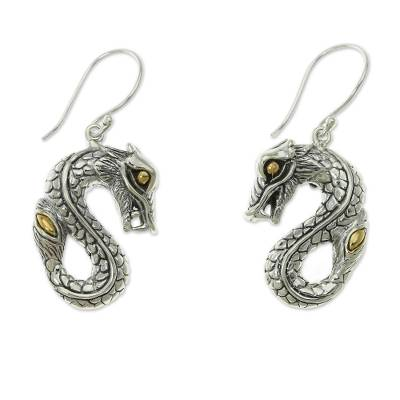 Gold accent dangle earrings, 'Fiery Dragon' - Hand Crafted Gold Accent Balinese Dragon Earrings