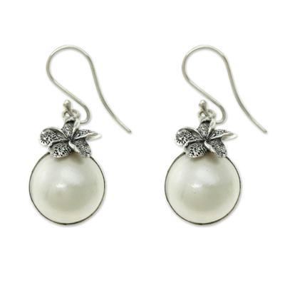 Cultured pearl dangle earrings, 'Plumeria Moon' - Fair Trade White Pearl Dangle Earrings