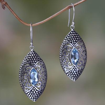 Blue topaz dangle earrings, 'Elegant Origin' - Blue Topaz in Handcrafted Sterling Silver Earrings