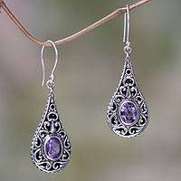 Amethyst dangle earrings, 'Balinese Dew' - Artisan Crafted Earrings with Sterling Silver and Amethyst