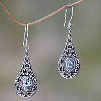 Blue topaz dangle earrings, 'Balinese Dew' - Artisan Crafted Earrings with Sterling Silver and Blue Topaz