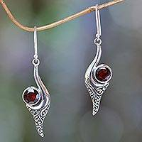 Garnet dangle earrings, 'Treasure' - Bali Fair Trade Jewelry Sterling Silver and Garnet Earrings