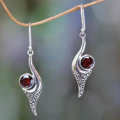 Garnet dangle earrings, 'Treasure' - Bali Fair Trade jewellery Sterling Silver and Garnet Earring