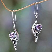 Amethyst dangle earrings, 'Treasure' - Fair Trade Jewelry Sterling Silver and Amethyst Earrings