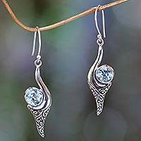 Blue topaz dangle earrings, 'Treasure' - Fair Trade Jewelry Blue Topaz and Sterling Silver Earrings