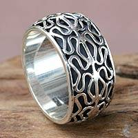 Sterling silver band ring, 'Kuta Currents' - Wide Sterling Band Ring