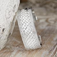 Sterling silver cuff bracelet, 'Pandan Weaving'