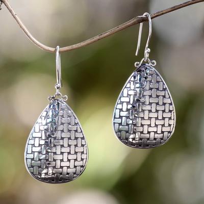 Sterling silver dangle earrings, 'Bamboo Tear' - Fair Trade Silver Dangle Earrings