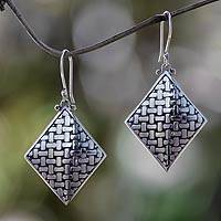 Sterling silver dangle earrings, 'Bamboo Diamond' - Fair Trade Sterling Silver Earrings