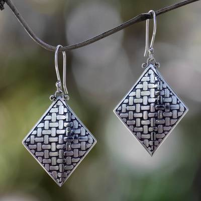 Sterling silver dangle earrings, 'Bamboo Diamond' - Fair Trade Sterling Silver Earrings