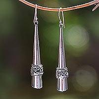 Sterling silver dangle earrings, 'Modern Paths' - Sterling Silver Dangle Drop Earrings from Bali