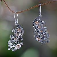 Gold accent dangle earrings, 'Monarch Splendor' - Sterling Silver Butterfly Earrings from Bali