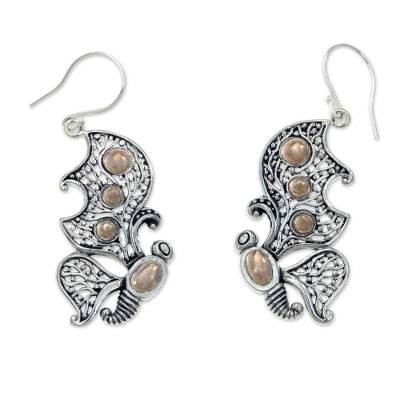 Gold accent dangle earrings, 'Monarch Splendor' - Gold Accent Silver Butterfly Earrings