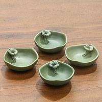 Ceramic condiment bowls 'Plumeria' (set of 4) - 4 Green Stoneware Condiment Dishes