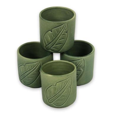 Ceramic cups, 'Bay Leaf' (set of 4) - Green Tea Cups with Leaf Motifs (Set of 4)