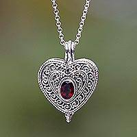 Garnet locket necklace, 'Always in my Heart' - Garnet and Sterling Silver Heart Shaped Locket Necklace