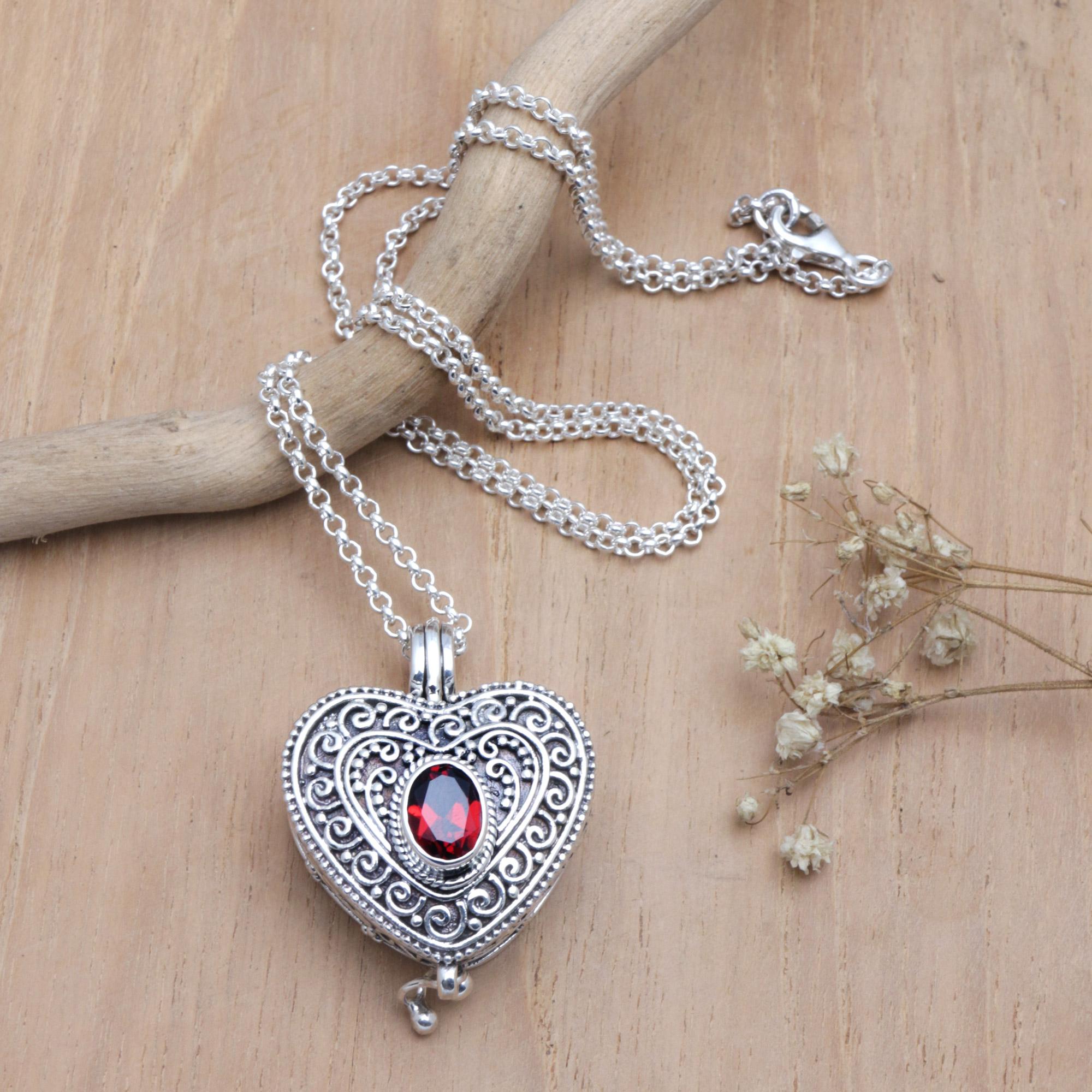b0b703b47b2b7a Garnet and Sterling Silver Heart Shaped Locket Necklace,