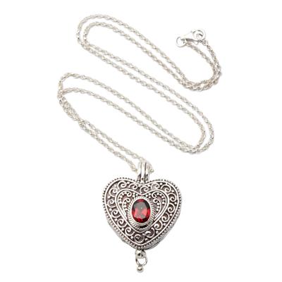 e4df7524d705da Garnet locket necklace, 'Always in my Heart' - Garnet and Sterling Silver  Heart
