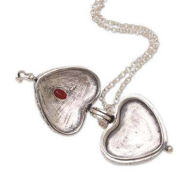 186b471276bb07 Garnet and Sterling Silver Heart Shaped Locket Necklace, 'Always in my Heart'.  Product ID: U1063