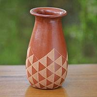 Decorative ceramic vase, 'Sails' - Triangle Motif Handcrafted Terracotta Vase from Java