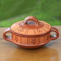 Ceramic serving dish, 'Island Arrow' - Hand Crafted Terracotta Serving Dish and Lid