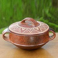 Ceramic serving dish, 'Lombok Sun' - Hand Crafted Terracotta Serving Dish and Lid from Indonesia