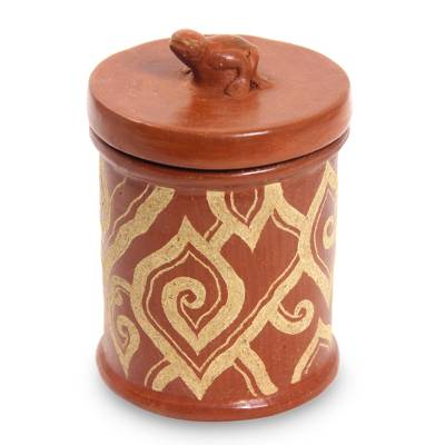 Hand Crafted Indonesian Brown Terracotta Jar and Lid