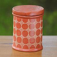 Ceramic jar, 'Sun Echo' - Hand Made Brown Terracotta Jar and Lid