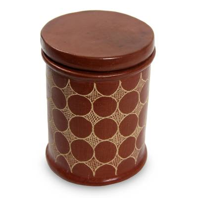 Hand Made Brown Terracotta Jar and Lid