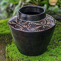 Decorative ceramic vase, 'Midnight Forest' - Leaf Motif Javanese Black Terracotta Ceramic Vase