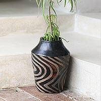 Decorative ceramic vase, 'Black Tiger' - Javanese Black Terracotta Hand Made Ceramic Vase