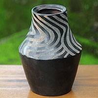 Decorative ceramic vase, 'Black Tiger Grace' - Javanese Black Terracotta Handmade Ceramic Vase