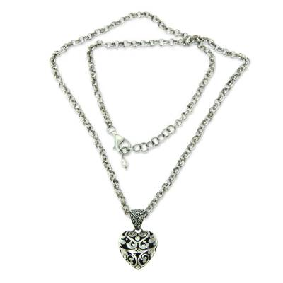 Sterling silver heart necklace, 'Wild Love' - Heart jewellery Handcrafted Sterling Silver Necklace