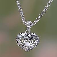 Sterling silver heart necklace, 'Lost in Love' - Heart Jewelry Handcrafted Sterling Silver and Pearl Necklace
