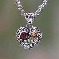 Garnet and citrine heart necklace, 'Energy of Love'