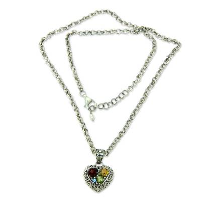 Garnet and citrine heart necklace, 'Energy of Love' - Multi Gemstone Pearl Heart Necklace Sterling Silver Jewelry
