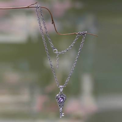 Amethyst pendant necklace, 'Key to Love' - Amethyst Heart Sterling Silver Necklace