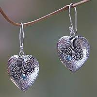 Blue topaz and sterling silver heart earrings, 'Love's Story' - Heart Shaped Sterling Silver and Topaz Dangle Earrings