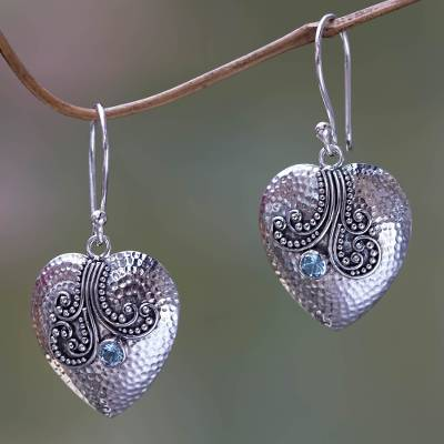 Blue topaz and sterling silver heart earrings, Loves Story