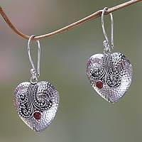 Garnet and sterling silver heart earrings, 'Love's Story' - Sterling Silver Heart Earrings with Garnet