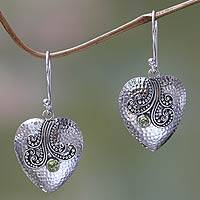 Peridot and sterling silver heart earrings, 'Love's Story' - Sterling Silver Heart Earrings with Peridot