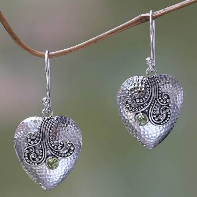 Peridot and sterling silver heart earrings, 'Love's Story' - Sterling Silver Heart Earrings with Peridot