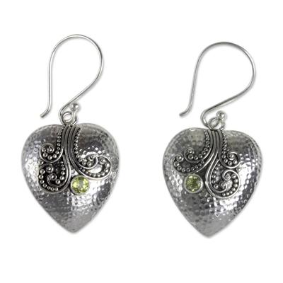 Sterling Silver Heart Earrings with Peridot
