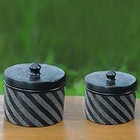 Ceramic jars, 'Zebra Swirl' (pair) - Black Ceramic Jars Crafted by Hand (Pair)