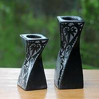 Ceramic tealight holders, 'Lombok Goth' (pair) - Artisan Crafted Black Ceramic Tealight Holders (pair)