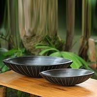 Ceramic serving bowls, 'Lidi Aren' (pair) - Black Ceramic Serving Bowls Crafted by Hand (Pair)