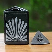 Ceramic jar, 'Sunflower Pyramid Frog' - Black Ceramic Triangle Jar Crafted by Hand